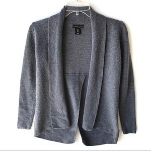 Adrienne Vittadini Grey Open 100% Wool Cardigan